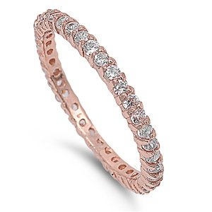 2mm Sterling Silver 18K Rose Gold Tone Stackable Handset Swarovski Crystal CZ Eternity Ring 4-10 (10)