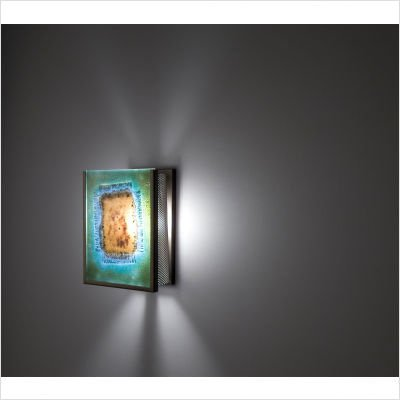 FN3IO Outdoor Wall Sconce with Three Magic Art Glass Panels Glass: Red Window Blue