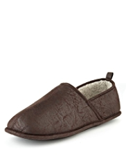 Panelled Faux Suede Slippers