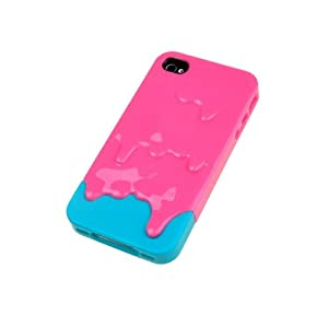 Pink/Blue 3D Melt ice-Cream Skin Hard Case Back Cover for Apple iPhone 4G 4S