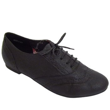 Ladies Black Lace-Up Flat Oxford Brogue Pumps