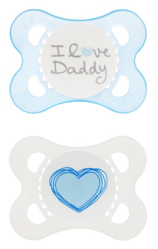 MAM Love and Affection, I Love Daddy, Silicone Pacifier, Boy, 0-6 Months, 2 Count - 1