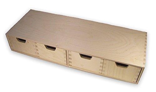 stabiles-Schubladen-Regal-Wandregal-mit-4-Schubladen-Holz-unbehandelt