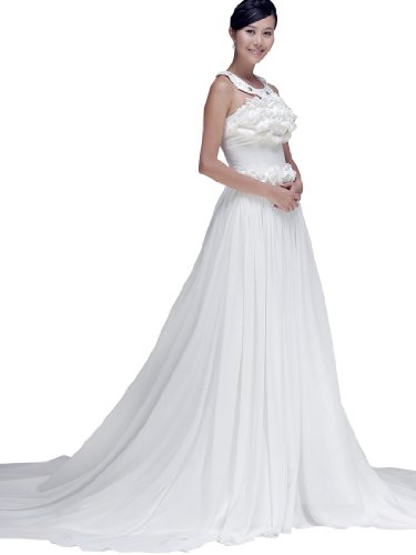 Topwedding Strapless A Line Chiffon Wedding Dress Featuring Floral Bodice