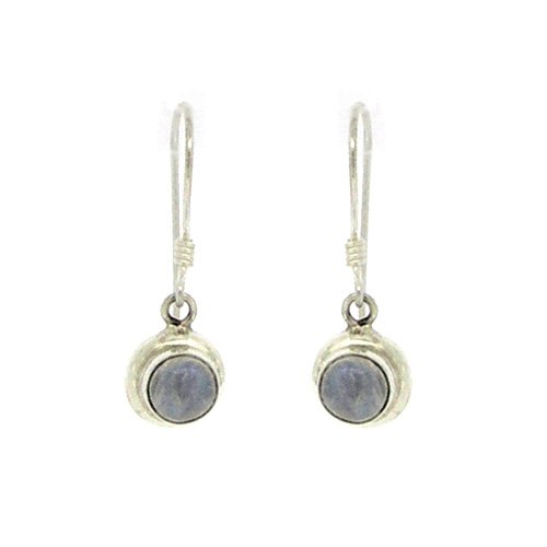 Nova Silver Small Round Earrings with Moonstone