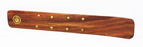 Supporto in legno per incenso, stelle dorate e vari simboli, per tenere l'incenso mentre brucia, con scanalatura per accumulo di cenere, 25x 4cm circa