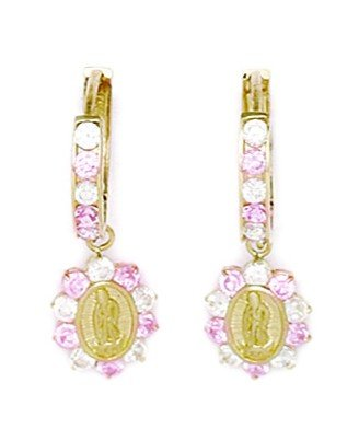 14ct Yellow Gold Pink CZ Flower Drop Hinged Earrings - Measures 25x9mm