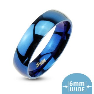 6mm 316L Stainless Steel Mirror Polished Blue IP Dome Wedding Band Ring Sz 5-13; Comes With Free Gift Box (12)