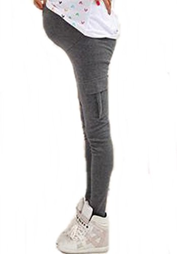 【chouchou】 お洒落 に マタニティ ウェア お腹 楽 ちん レギンス サイド ポケット パンツ スパッツ 産前 産後 ( ダークグレー M )