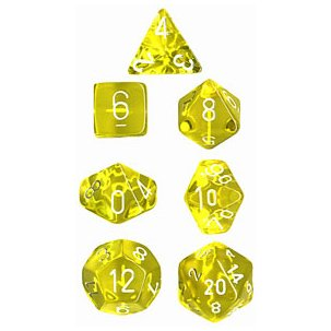 Polyhedral 7-Die Translucent Dice Set - Yellow