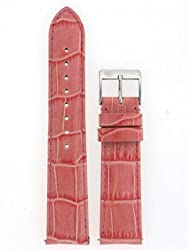 Ladies Watch Band Crocodile Grain Pink Glossy Built-In Spring Bars