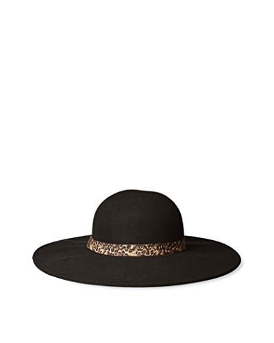 Giovannio Women's Floppy Hat with Animal Print Band, Black