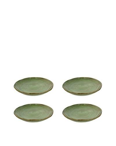 """COLI Set of 4 Italian Stoneware 11.5"""" Classic Dinner Plates, Cilantro Green"""