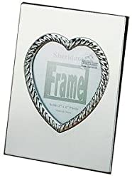 CARLY HEART polished silver engraveable frame - 3x4