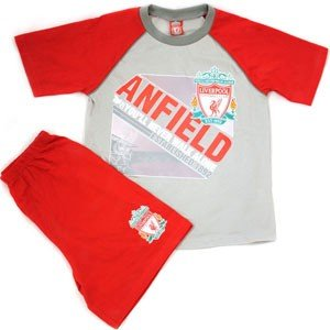 Boys Liverpool Football Club Short Sleeved T-Shirt and Shorts Nightwear/Pyjamas Set (7-8 Years) (Grey/Red) from Liverpool