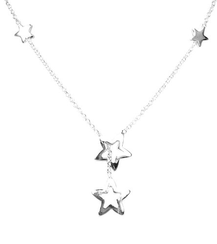 925 Sterling Silver Toned Super Star Lariat Necklace