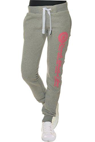 M.Conte Sweat-Pants Modello Ramona Pantaloni in Felpa sportivi da Jogging tuta felpa per donna grigio chiaro Taglia XL