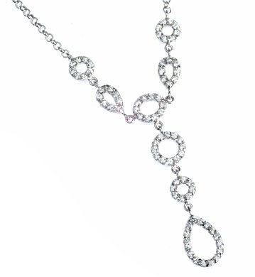 Sterling Silver Clear CZ Y Necklace 16
