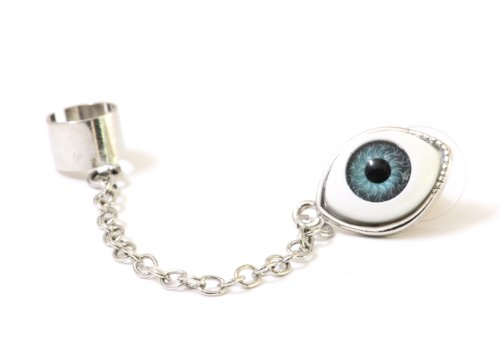 Occult Eye Ball Stud Earring Chain Ear Cuff Metal Wrap Silver Tone Gothic Punk Fashion Jewelry