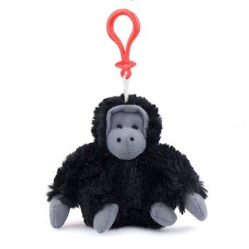 Gorilla Plush Black Gorilla Stuffed Animal Backpack Clip Toy Keychain WildLife Hanger