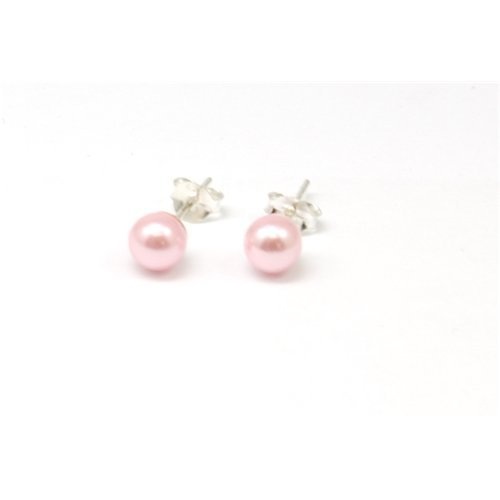 The Olivia Collection Sterling Silver Pink Simulated Pearl Stud Earrings