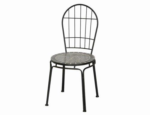 6 Stück SIENA GARDEN Flores Stuhl, Sessel schwarz/silber Gestell: Eisen Mosaik-Optik
