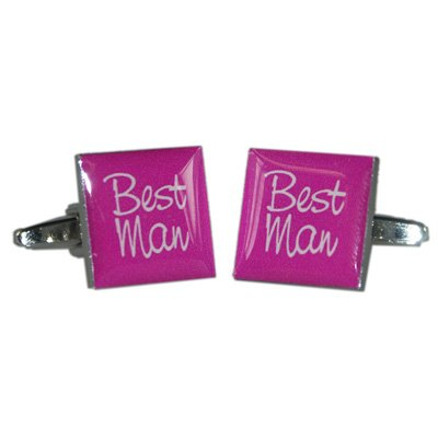 Best Man Hot Pink Square Wedding Cufflinks X2BOCW008