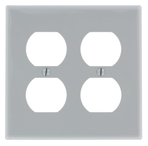 Leviton 80716-Gy 2-Gang, 2-Duplex, Receptacle Wallplate, Standard Size, Thermoplastic Nylon, Device Mount, Gray