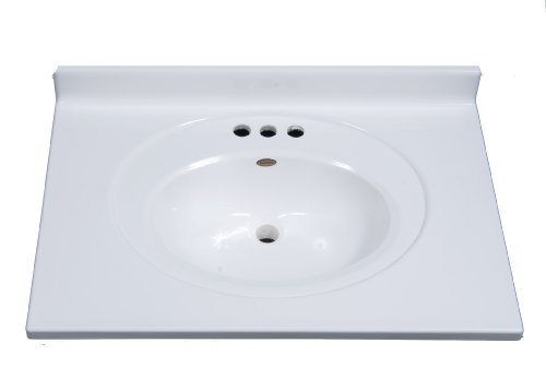 Imperial FS3119SPW Bathroom Vanity Top with Recessed Center Oval Bowl, Solid White Gloss Finish, 31-Inch Wide by 19-Inch Deep