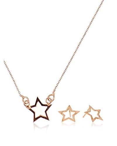 Córdoba Jewels Conjunto de collar y pendientes plata de ley 925 milésimas bañada en oro