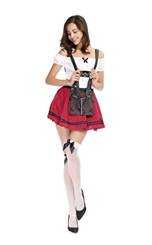 COSWE Womens German Beer Babe Girl Oktoberfest Cosplay Party Costume Dress
