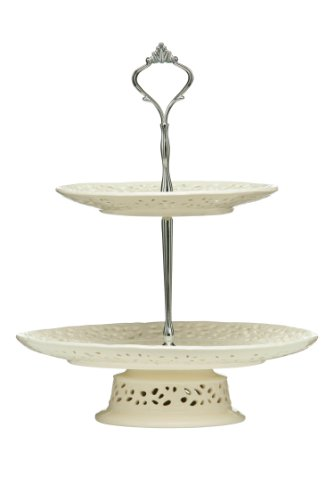Premier Housewares 2-Tier Lace Cake Stand - Cream