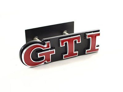 VW GTI FRONT GRILLE EMBLEM BADGE - RED/CHROME