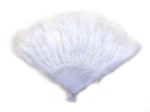 White Feather Hand Folding Fan for dance, decoration, halloween costume15x9.5inch (Feather Fans compare prices)