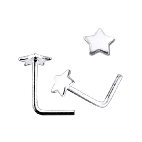 Flat Plain Star L Shaped 925 Sterling Silver Nose Pin Piercing Jewelry