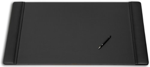 Dacasso Black Leather Desk Pad With Side Rails, 38-Inch By 24-Inch