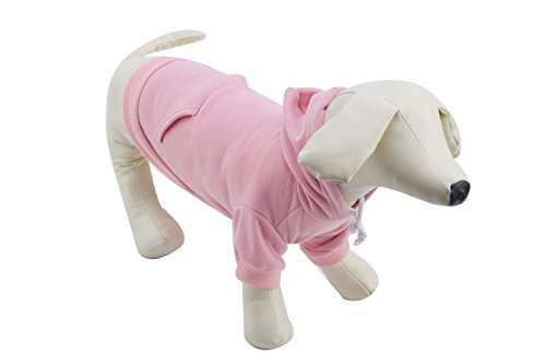 Pet Pink XL Dog Fleece Coat Sweater Jumpsuit Puppy Cat Hoodie Sweatshirt Clothes Apparel with Pockets