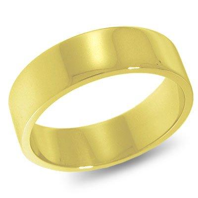 14K Yellow Gold, Flat Wedding Band 6MM (sz 5.5)
