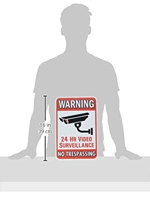 "Heavy Duty ""Warning 24 Hour Video Surveillance No Trespassing"" Sign - Security Camera Warning Inscription, Larger Size, 10"" By 15"""
