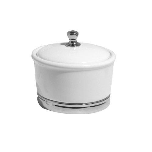 interdesign york ceramic bathroom vanity canister white chrome large 081492719014