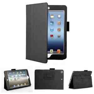 TG Cases® New Apple iPad Mini Black Executive Premium Folio Leather Multi Function Standby Case / Cover / Wallet for iPad Mini with Built in Magnet for Sleep / Wake Feature - 2 Included Screen Protectors