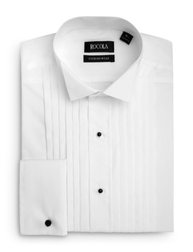 Rocola Mens Wing Collar Pleated Dress Shirt 16