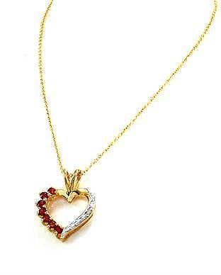 Olive N Figs Sterling Silver and 14k Gold Overlay Garnet Heart Pendant Necklace - 18inch