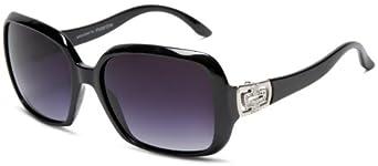 PolarOne Women's P1-4007 (C1) Polarized Sqaure Fashion With Rhinestones Sunglasses,Shiny Black Frame/Grey Lens,one size