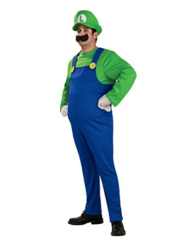 Super Mario Luigi Adult Plus Deluxe Adult Mens Costume