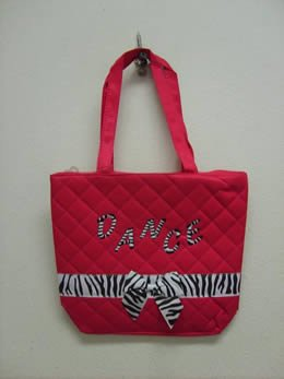 Girls Dance Tote with Zebra Print Bow