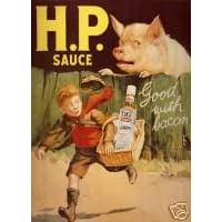 1354 EXTRA LARGE H.P SAUCE METAL ADVERTISING WALL SIGN RETRO ART