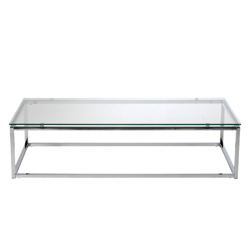 Euro Style Sandor Coffee Table Clear Glass Chrome Furnitures Sale