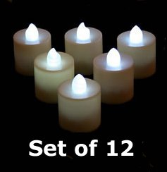 Tall Tea Lights - White Led - Battery Operated Set Of 12