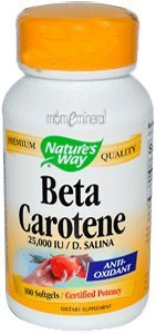 Beta Carotene,25,000 IU / D. Salina, 100 Softgels by Nature's Way